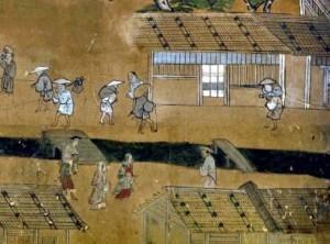 1525年から1536年ころの京都 烏丸通,室町通 洛中洛外図屏風・右隻第2扇中下