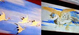 長八作品の中でも傑出した作品「千羽鶴」(左)
